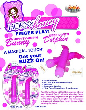 Horny Honey - Finger Play Bunny - Magenta w/HH Cream Pillow Pack