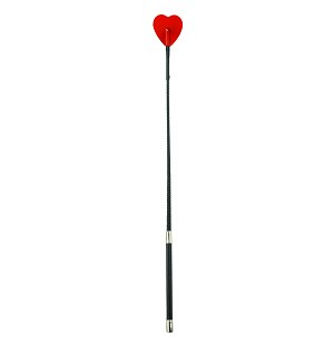 26 inch HEART TIP CROP - RED - METAL ACCENTS